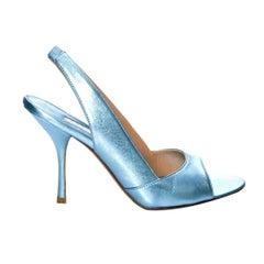 New Edmundo Castillo Blue Metallic Napa Leather Sling Heels