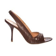 New Edmundo Castillo Brown Python Sling Heels