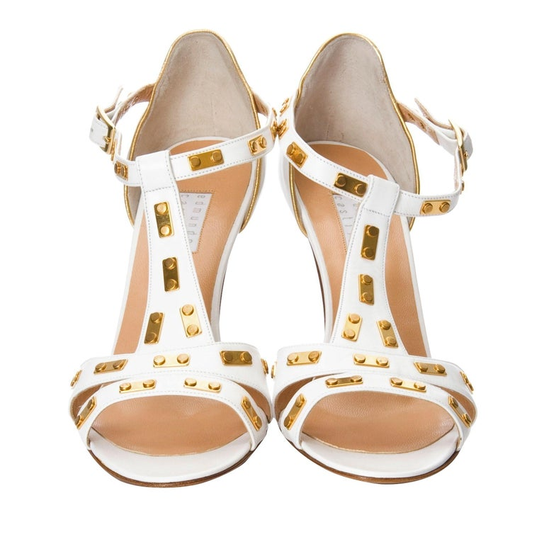New Edmundo Castillo White Leather and Gold Metal Heels Sz 8.5 For Sale 1