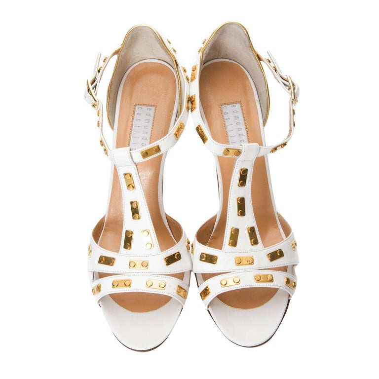 New Edmundo Castillo White Leather and Gold Metal Heels