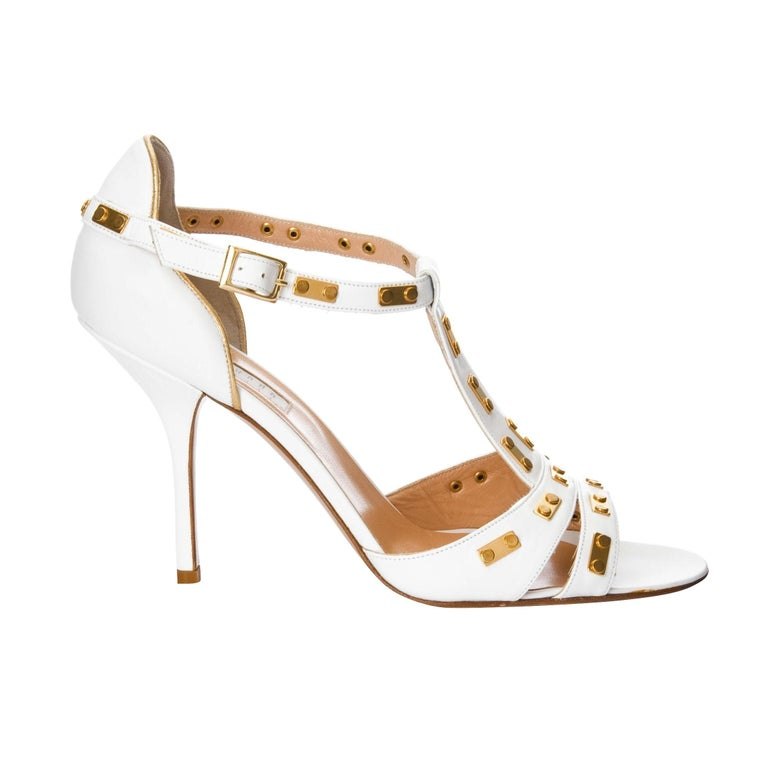 Beige New Edmundo Castillo White Leather and Gold Metal Heels Sz 8.5 For Sale