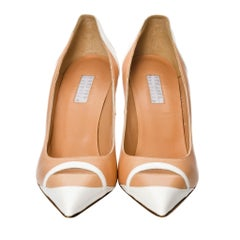 Edmundo Castillo Peach and White Leather Heels Pumps