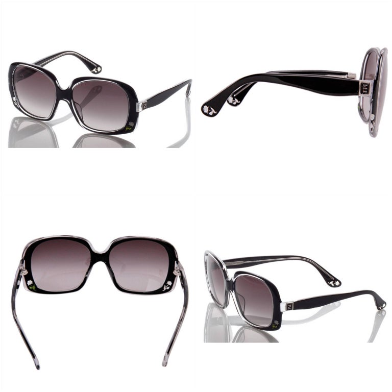 New Fendi Black with Rose Inlaid Sunglasses  For Sale 3