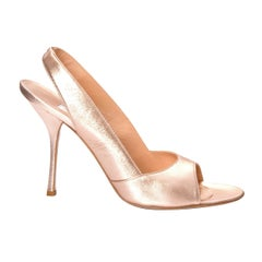 New Edmundo Castillo Metallic Rose Gold Soft Napa Leather Heels