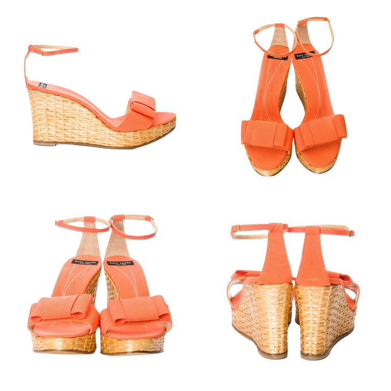 Orange New Kate Spade Rare Collectible Spring 2005 Wicker Wedge Heels Sz 10 For Sale