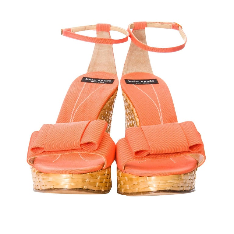 New Kate Spade Rare Collectible Spring 2005 Wicker Wedge Heels Sz 9 In New Condition For Sale In Leesburg, VA