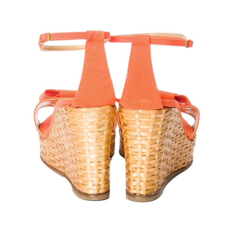 New Kate Spade Rare Collectible Spring 2005 Wicker Wedge Heels Sz 9 For Sale 3