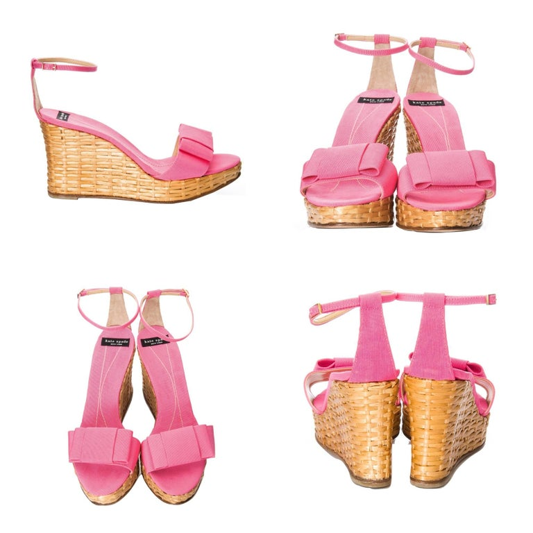 Orange New Kate Spade Rare Collectible Spring 2005 Wicker Pink Wedge Heels Sz 10 For Sale
