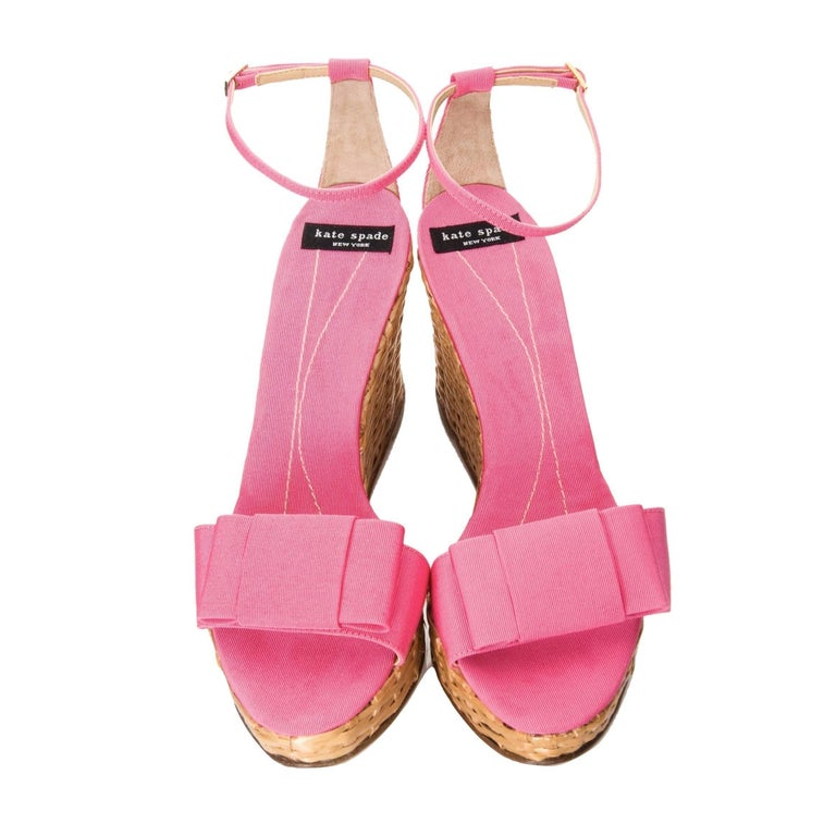 New Kate Spade Rare Collectible Spring 2005 Wicker Pink Wedge Heels Sz 10 For Sale 1
