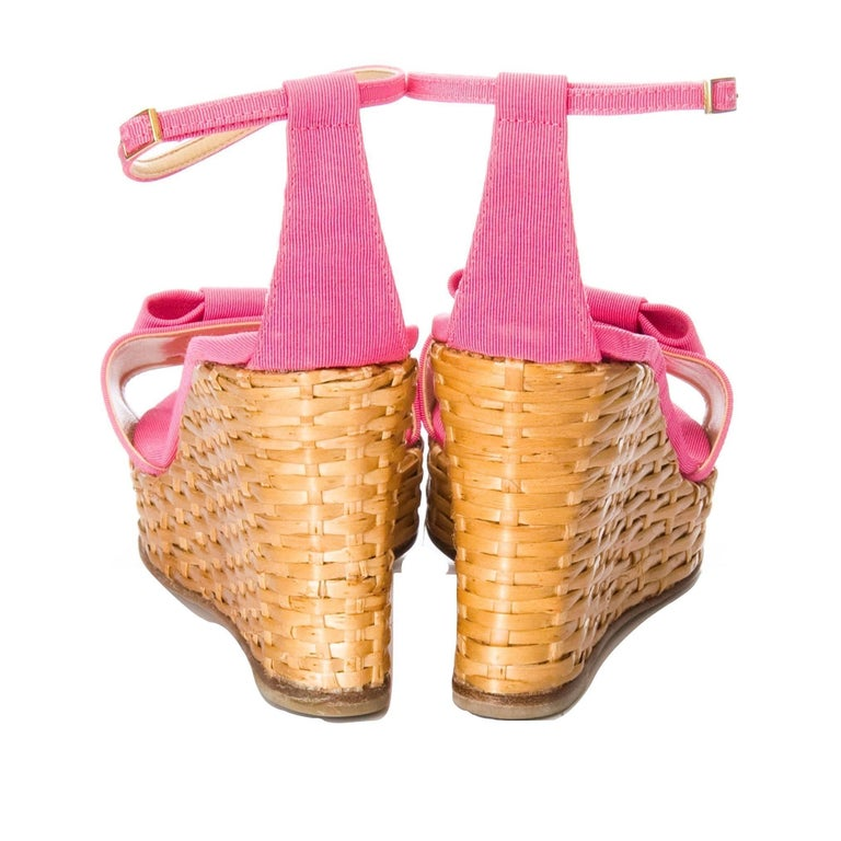 New Kate Spade Rare Collectible Spring 2005 Wicker Pink Wedge Heels Sz 10 For Sale 3