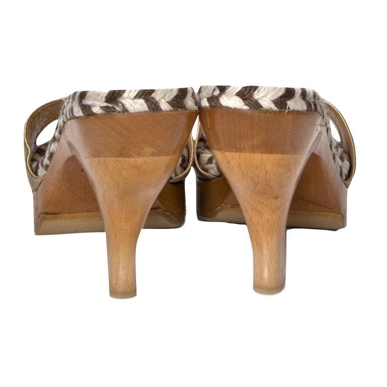 New Edmundo Castillo Metallic Leather Espadrille Mule Heels Sz 41 For Sale 1