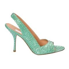 New Edmundo Castillo Teal Green Python Sling Heels