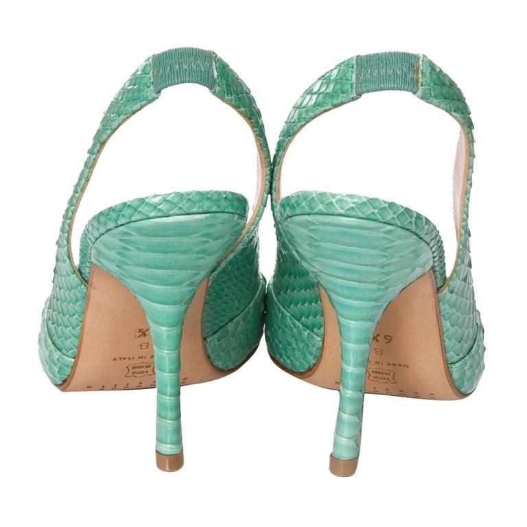 Women's New Edmundo Castillo Teal Green Python Snakeskin Pump Heels Sz 6 For Sale