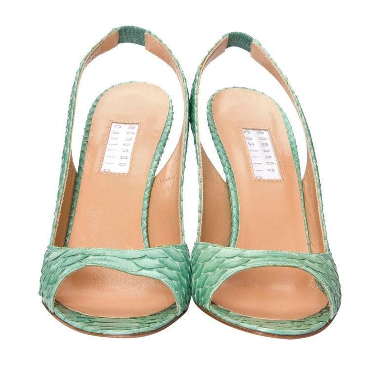 New Edmundo Castillo Teal Green Python Snakeskin Pump Heels Sz 6 For Sale 2