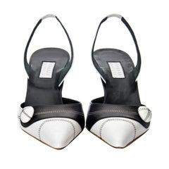 New Edmundo Castillo Black & White Leather Slingback Heels