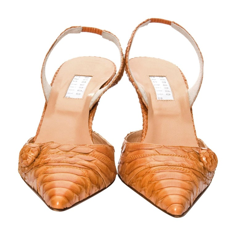 Orange New Edmundo Castillo Light Cognac Python Snakeskin Pump Heels Sz 7 For Sale