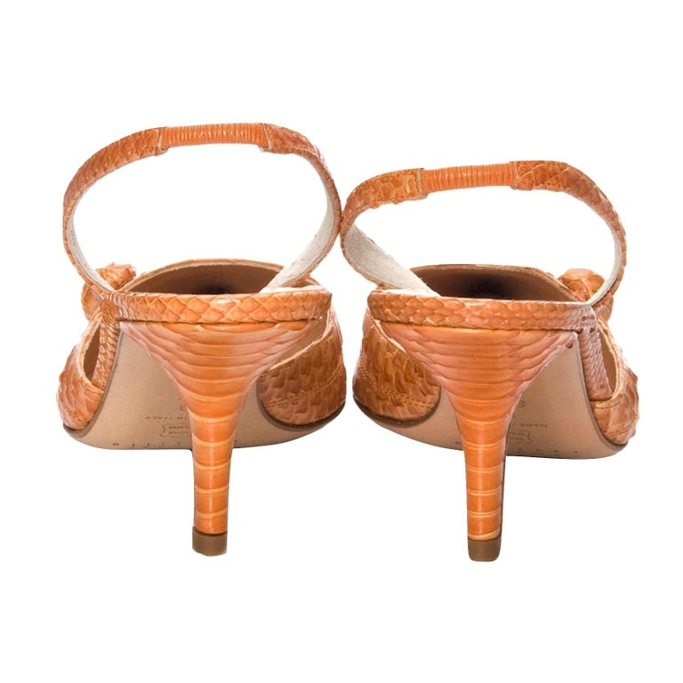 New Edmundo Castillo Light Cognac Python Snakeskin Pump Heels Sz 8 For Sale 1