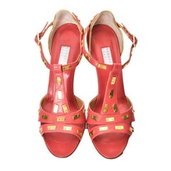 New Edmundo Castillo Coral Leather and Gold Metal Heels