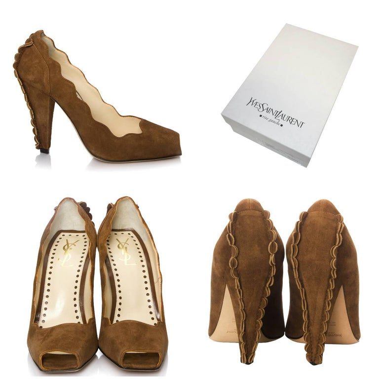 Tom Ford For YSL Heels Brand New * Stunning Suede In Camel * Tom Ford's Final Years w/ YSL * Iconic and Impossible to Find New * Unique Scalloped Sides & Heel * Leather Insole  * Open Square Toe  * 4.5