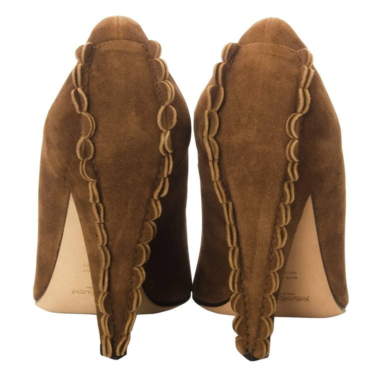 Brown New Tom Ford for Yves Saint Laurent YSL Suede Heels Pumps Sz 38 For Sale