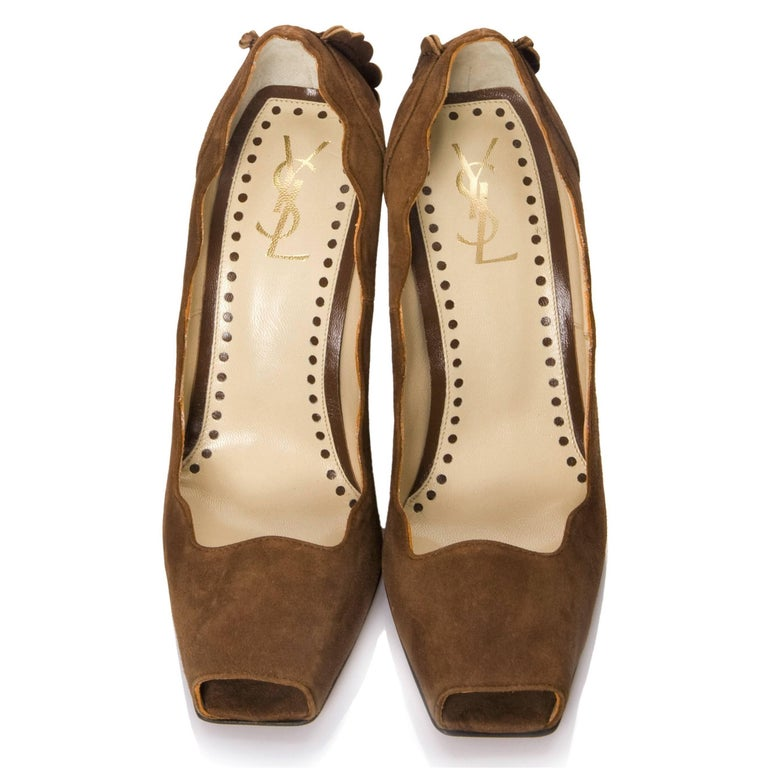 Women's New Tom Ford for Yves Saint Laurent YSL Suede Heels Pumps Sz 38 For Sale