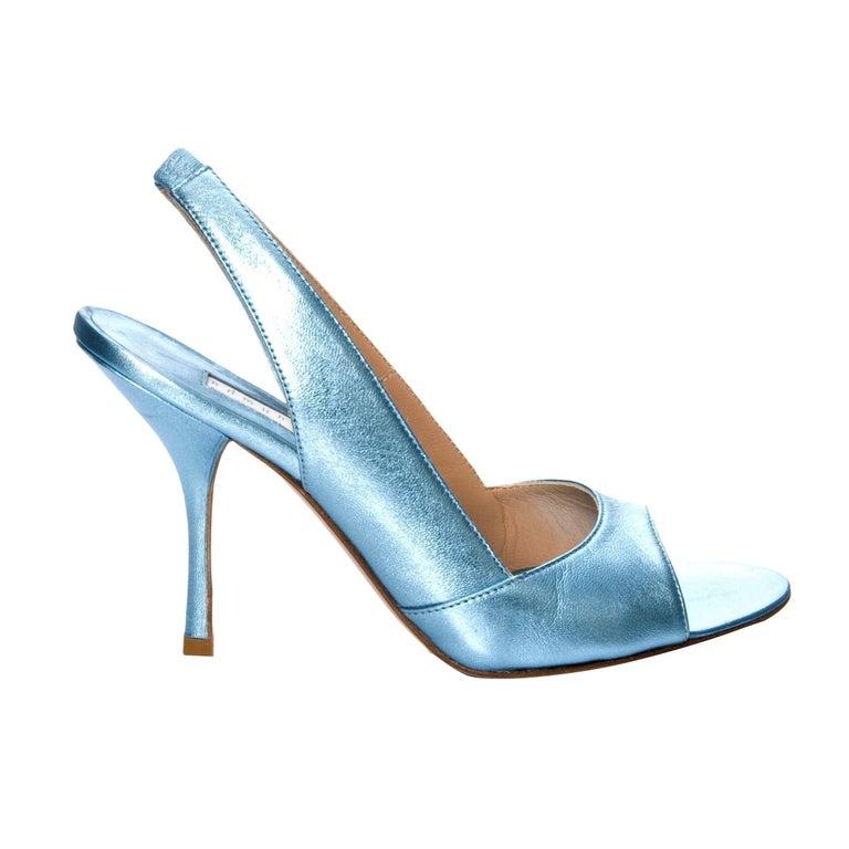 New Edmundo Castillo Blue Metallic Napa Leather Sling Heels Sz 8.5 In New Condition For Sale In Leesburg, VA