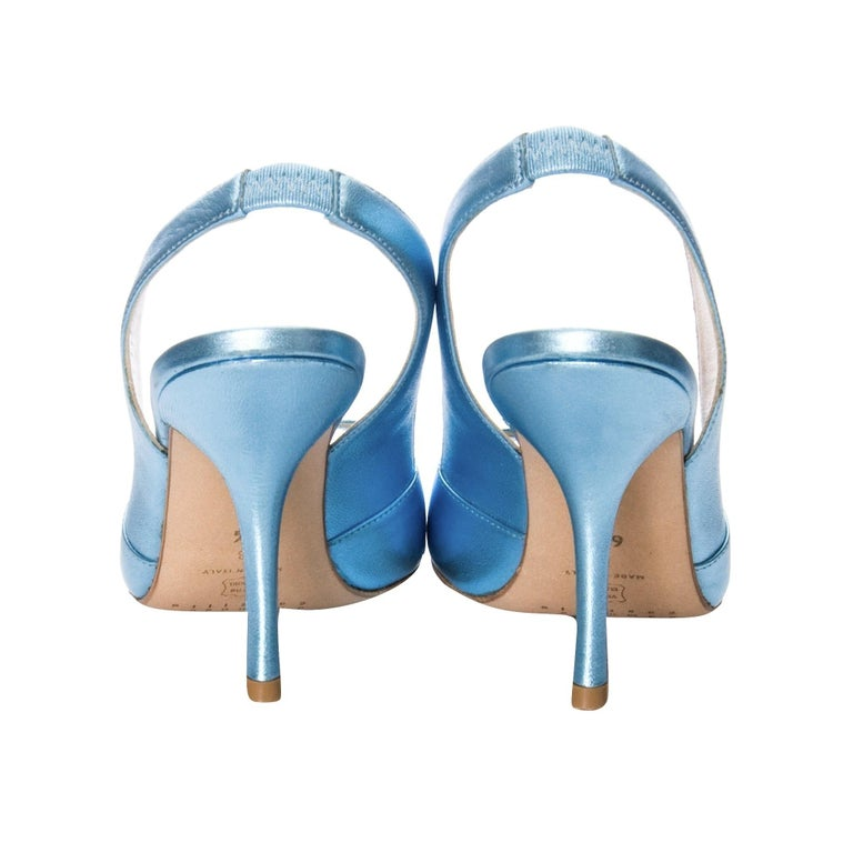 Women's New Edmundo Castillo Blue Metallic Napa Leather Sling Heels Sz 8.5 For Sale