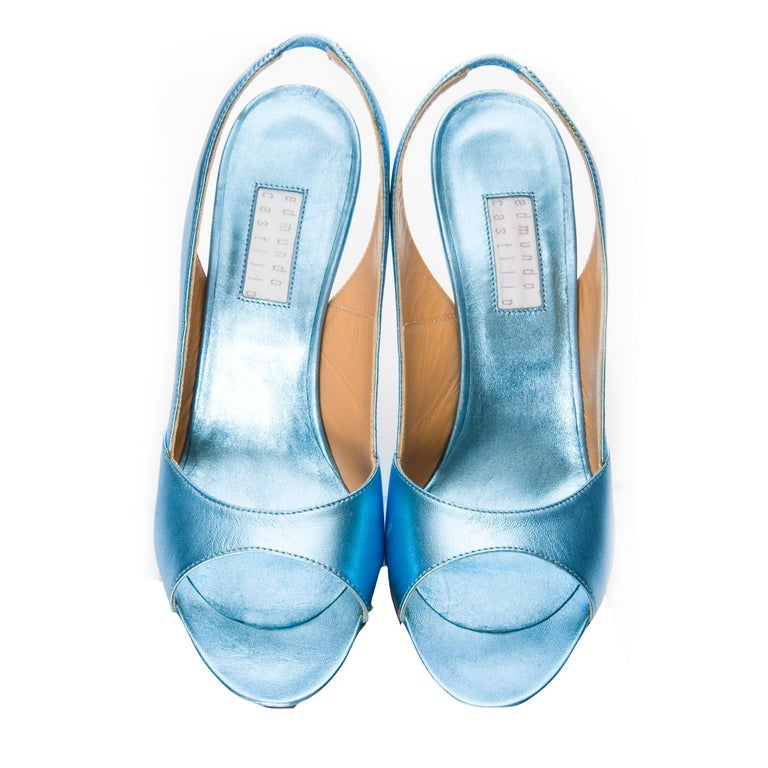 New Edmundo Castillo Blue Metallic Napa Leather Sling Heels Sz 8 For Sale 2