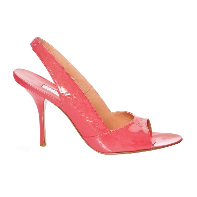 Pink New Edmundo Castillo Coral Patent Leather Sling Heels For Sale