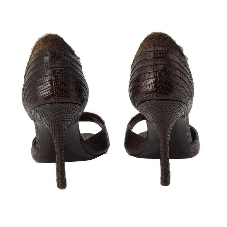 Black New Edmundo Castillo Brown Lizard and Fur Heels 8 For Sale