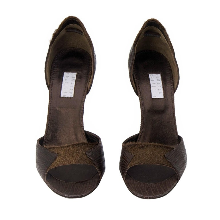 New Edmundo Castillo Brown Lizard and Fur Heels 8 In New Condition For Sale In Leesburg, VA