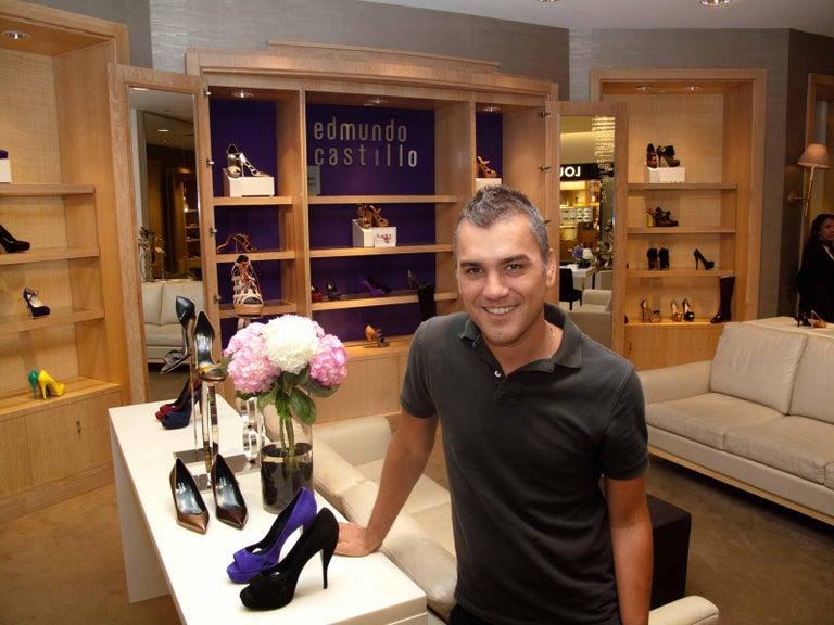Women's New Edmundo Castillo Brown Lizard and Fur Heels 8 For Sale