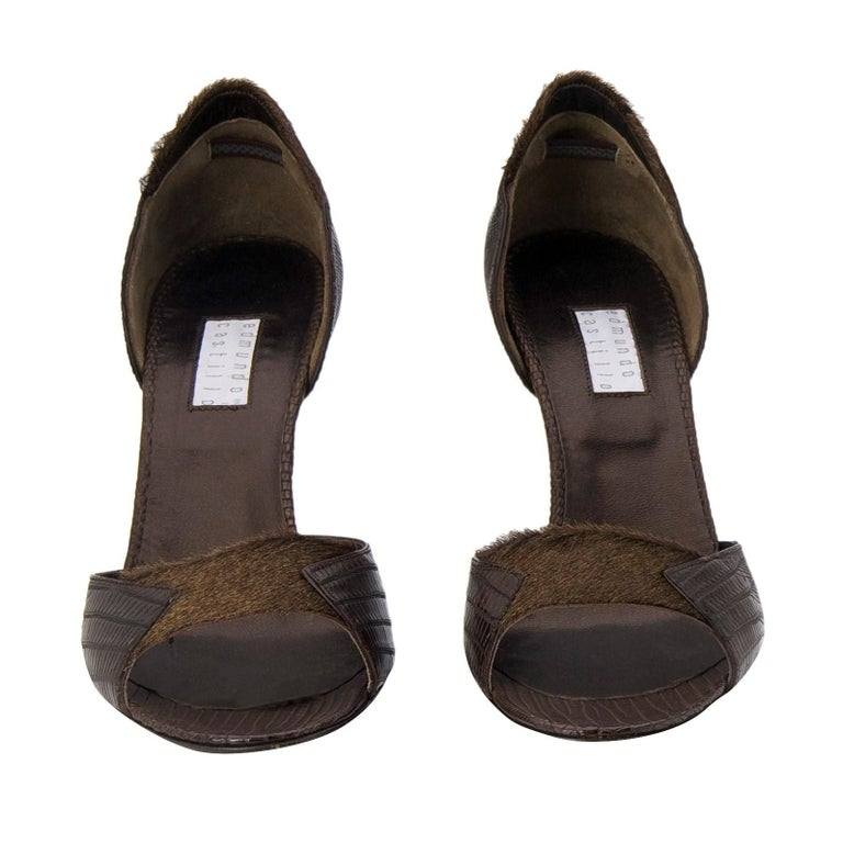 New Edmundo Castillo Brown Lizard and Fur Heels 8 For Sale 1