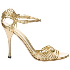 New Gucci Gold Leather Ad Runway Heel Sz 40