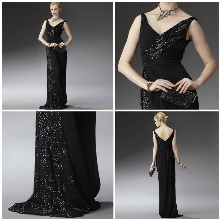 Badgley Mischka Gown Brand New with Tags Shell: 100% Silk Lining: 100% Polyester Sequined Neckline Flowing down one side and at back strap Zipper and Hook Closure It's Stunning! We are happy to provide measurements upon request