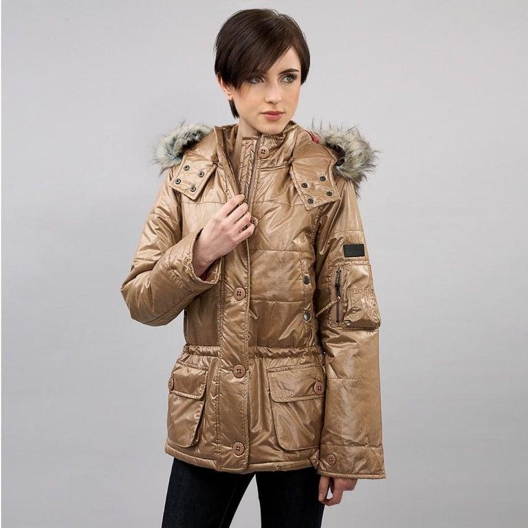 Brown New Da-Nang Detachable Hood Puffer Jacket For Sale