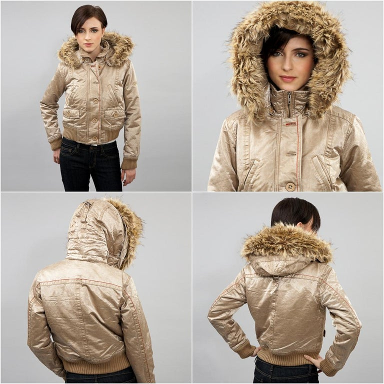 Da-Nang Jacket Brand New w/ Tags * Beige Gold Jacket * Detachable Faux Fur Trim Convertible Backpack! * Removable Hood *Rib Knit Trim on Cuff & Hem * Zipper and Button Closure * Slit & Front Flap Pockets * Embroidered Logo on Sleeve * Fabric
