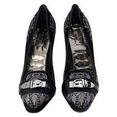 New Gucci Runway Suede Brocade Buckle Heels Sz 37