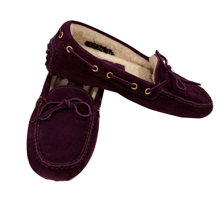 New The Original Prada Car Shoe Flat Moccasin Shearling House Driving  Sz 36 For Sale 2