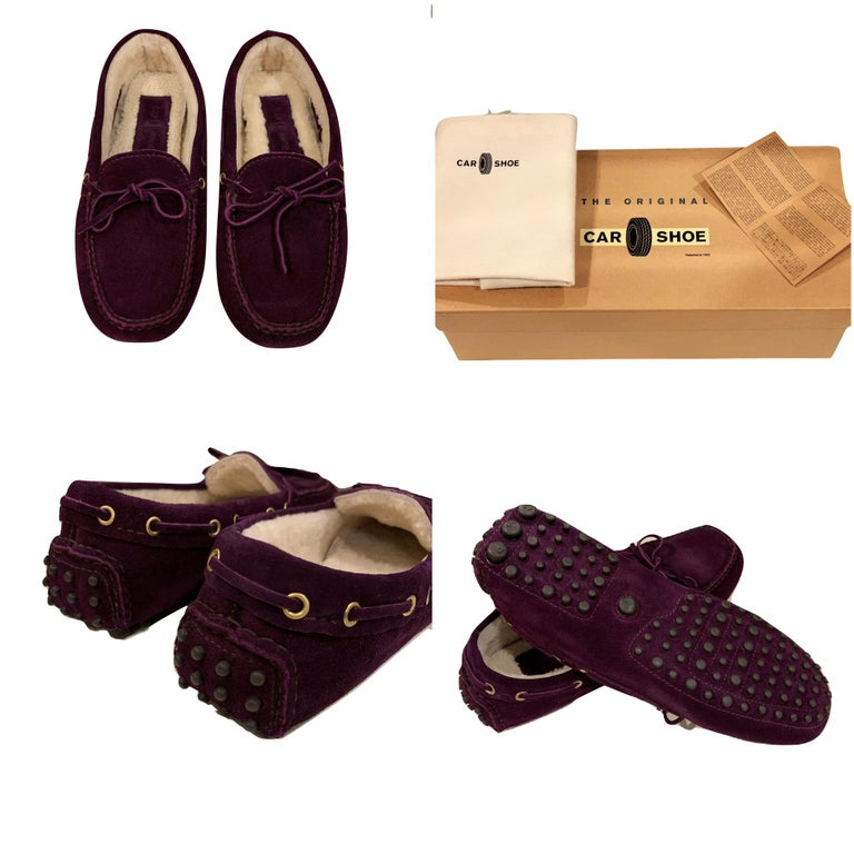 The Original Car Shoe by Prada  Brand New * Deep Plum * Suede * Shearling Lining * Gold Hardware * Bow Toe * Flat Heel * Rubber Bumper Sole * With Box & Dust Cover