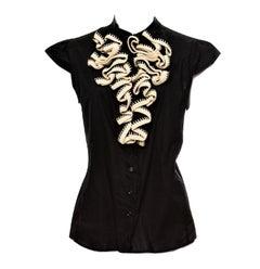 New Yves Saint Laurent S/S 2005 Crochet Ruffle Blouse Top Shirt