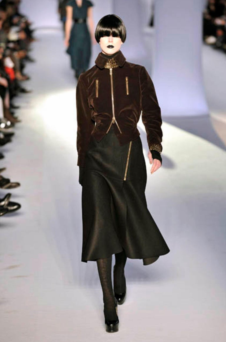 New Yves Saint Laurent YSL F/W 2008 Runway Wool Skirt Sz Fr42 For Sale 1