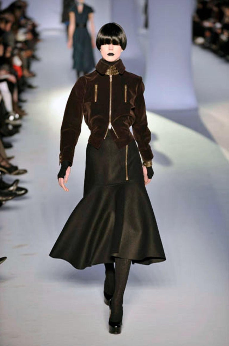 New Yves Saint Laurent YSL F/W 2008 Runway Wool Skirt Sz Fr42 For Sale 2