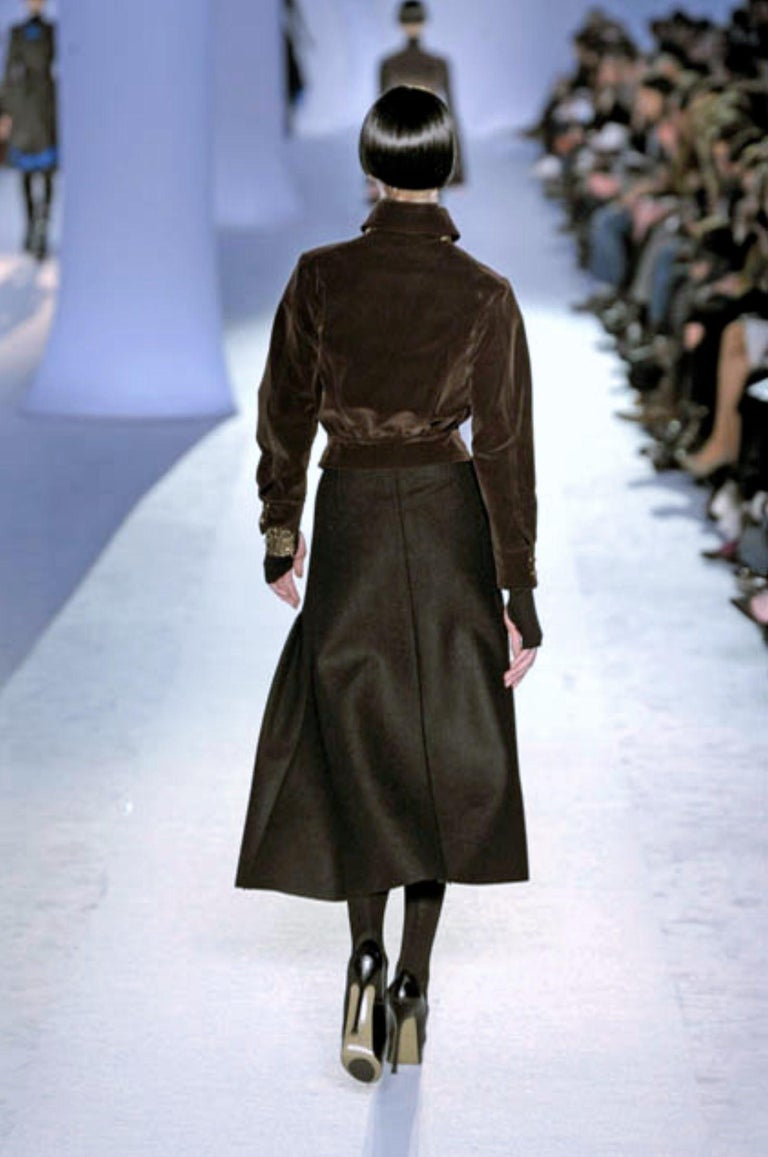 New Yves Saint Laurent YSL F/W 2008 Runway Wool Skirt Sz Fr42 For Sale 5