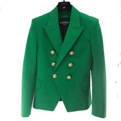 Balmain Emerald Green Blazer with Gold Buttons