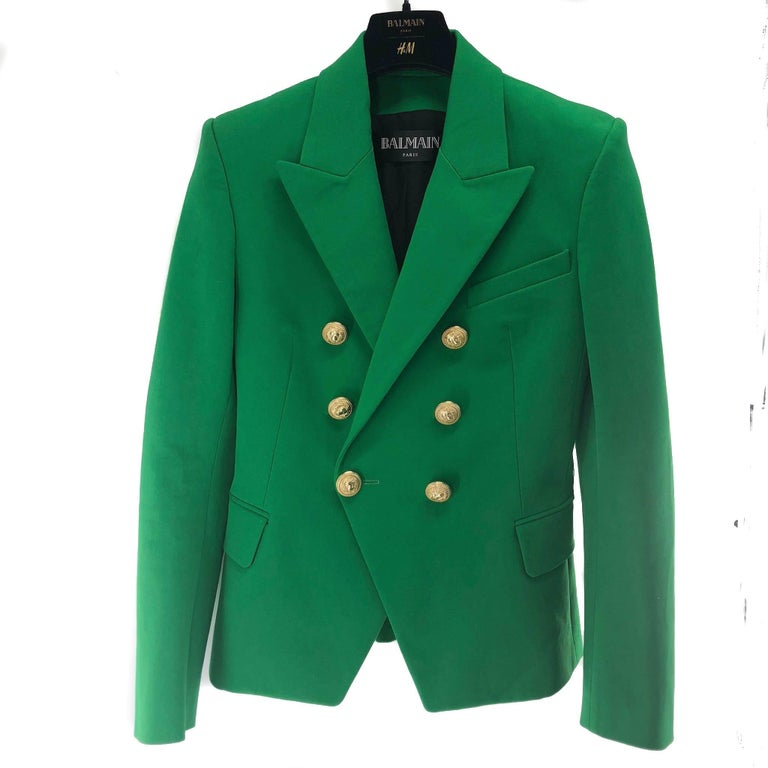 Balmain Blazer in size 40 Emerald Green with Gold Buttons