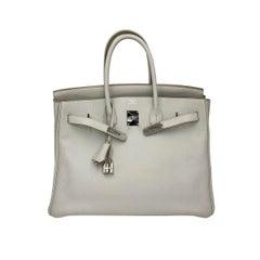 Hermes Birkin 35 Gris Perle Clemence Leather with Palladium Hardware