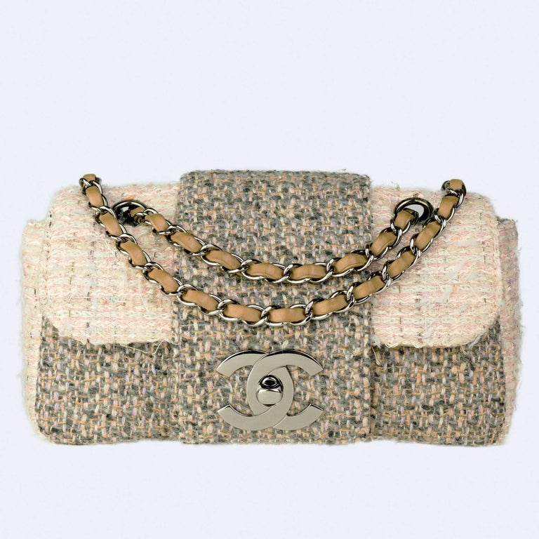 Beige Chanel Small Rare Tweed Cream Classic Flap For Sale