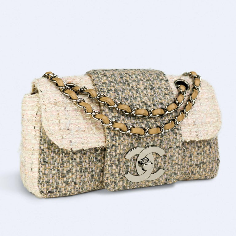 Women's Chanel Small Rare Tweed Cream Classic Flap For Sale