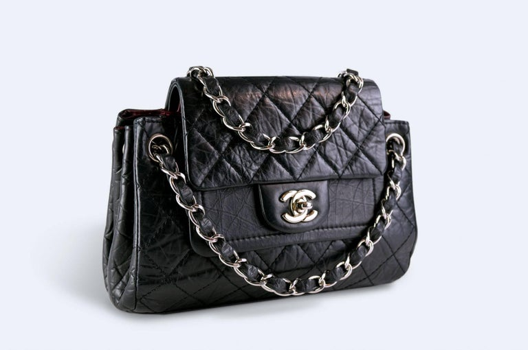 Black Chanel Limited Edition Distressed Calfskin Classic Double Flap Bag For Sale